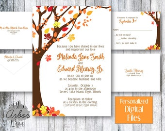 Fall Wedding Birthday Engagement Party Invitation Printable Customized Printable Customized