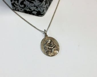 Pendant silver 800 Holy Mary with baby Jesus shabby vintage old SK686