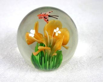 Flower Butterfly Glass Paperweight 2.5 Inches Decorative Paperweight Art Glass Paperweight Blown Glass Paperweight