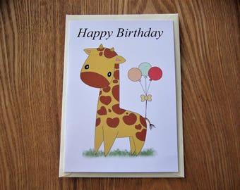 Giraffe Birthday Card.
