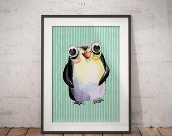 Baby Nursery Penguin | Nursery Animal Art, Penguin Baby Room, Digital Download, Baby Animal Print, Woodland Baby Art, Baby Zoo Print
