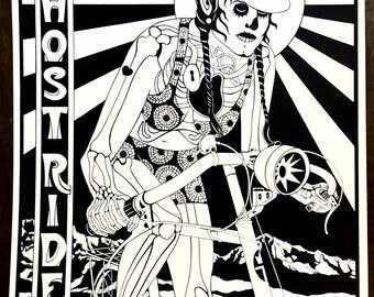 Ghostrider Screenprint-Skeleton Cyclist-Ghostrider Cyclist-Femme Ghostrider-Femme Cyclist-Wil Taylor print-Screenprint-Cycling Poster