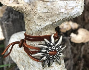 "Beautiful Suede Wrap Bracelet with ""Edelweiss"" Flower"