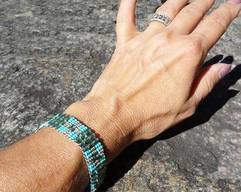 Beaded Bracelet, December Birthstone,Sterling Silver, Handloomed Bracelet, Beadloom Bracelet, Boho Jewelry, Boho Bracelet, Sundance Style