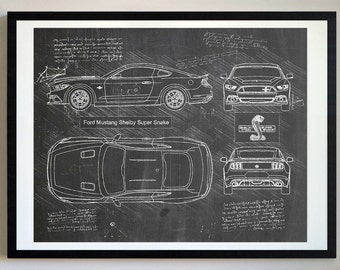 Ford Mustang Shelby Super Snake (2015) Da Vinci Sketch, Mustang Artwork, Patent Prints Posters, Mustang Decor, Art, Car Art, Cars (#269)