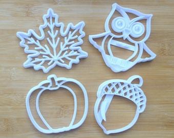 Fall Cookie Cutters Pack 3D Printed    Owl Cookies / Leaf Cookies / Pumpkin Cookies / Acorn Cookies