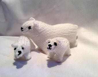 Hand Knitted Toy / Polar Bear Family / Stocking Stuffer / Filler / Christmas Decoration / Gifts under 10
