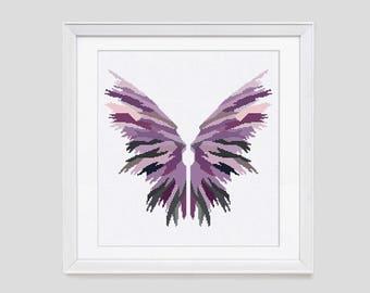 Angel wings cross stitch pattern, angel wings counted cross stitch, angel cross stitch pattern, modern cross stitch pattern
