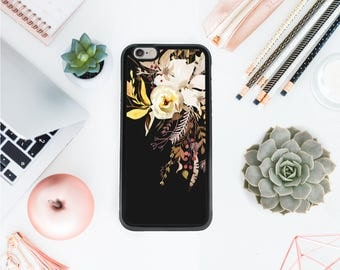 Grunge Iphone 7 case watercolor blossoms leaves dark phone case tumblr phone case botanical gift gift for her Valentines day OT47