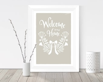 New home gift, Housewarming gift, Welcome to our home, Wildflower wreath, Cow parsley print, Home decor, Unique poster, Wall art