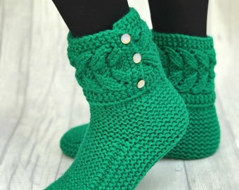 Knitted Slipper Boots - Indoor Knitted Slippers - Knitted Socks - Wool Slippers - Knitted Booties - House Shoes - Indoor shoes