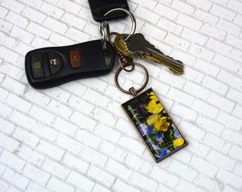 Purple, Blue and Yellow Pansy Keychain 2 Rectangle Keychain Flower Keychain Souvenir Keychain Nature Keychain Photo Keychain