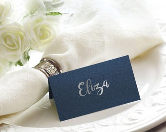 Shimmer Navy and Silver Foil Wedding Place / Name Cards