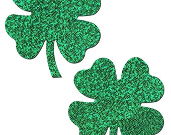 Pasties - Four Leaf Clover: Glittering Green Shamrocks Nipple Pasties by Pastease® o/s