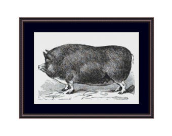 Berkshire Pig Counted Cross Stitch Pattern / Chart,  Instant Digital Download (AP335)