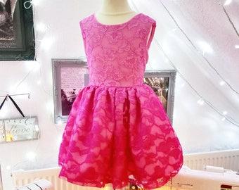 Pink Ombré Glitterly Lace Dress