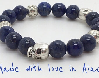 Lapis lazuli and skulls very nice quality bracelet