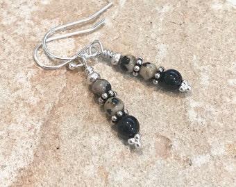 Black and tan drop earrings, tiger eye earrings, dalmatian jasper earrings, Hill Tribe silver earrings, sundance style earrings gift for her