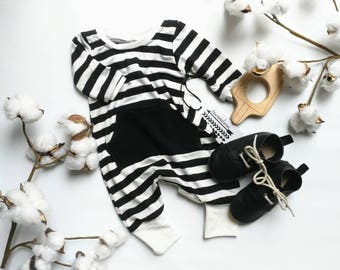 Baby romper + Black White Romper, Baby Outfit, Baby boy, Baby Girl, Baby Shower Gift, Gender Neutral,  Stripes Infant High Quality