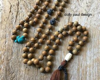 Wood Lace Stone, Petrified Wood, Bone Bead, Sea Turtle, Wood Stone Prayer Beads, Mala, Tibetan Mala, Meditation, Lava Diffuser Bead, Energy