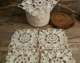 Lace handmade. Openwork small napkins. A set of lace motifs. Lace for decoration. Square openwork napkins. Applique for decoration.