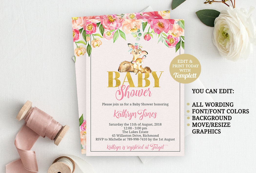 Deer Baby Shower Invitation, Deer Baby Shower Invite, Woodland Baby ...