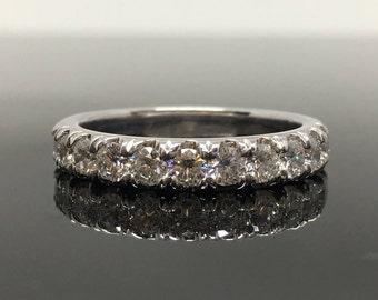 14K White Gold Diamond Wedding Band - White Gold Half Eternity Diamond Anniversary Ring - 3mm 1 Carat Diamond Band - Round Diamond Band