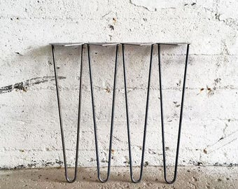 Set of 4 Hairpin Table Legs | 27'', 28'', 29'' Inch Inches (2 or 3 rods) Hairpin Legs Table Legs Metal Legs Raw Steel Legs DIY Leg