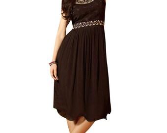 Indian Pakistan  Kurti Dress Top Tunic Bollywood Anarkali like Brown Color Pure Georgette dress