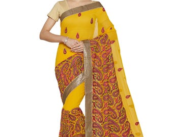 Indian Designer Mustard Colored 60 Gm Georgette Saree  Formal Bridal Saree Party Wear Saree for Women