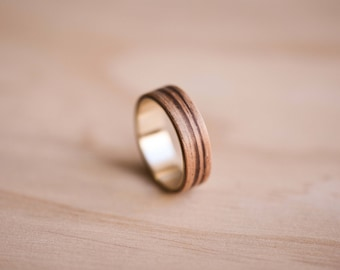 Zebrano Bentwood Ring with a Solid Yellow Gold Liner