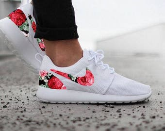 SALE US 5.5 EUR 36 Womens Nike Roshe Run One White Custom Red Pink Floral Fabric Design. Ready to Ship !!!