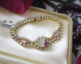 1970's Vintage Aurora Borealis Bracelet – Claw-Set Rainbow Crystal Bracelet – Slim Width Art Deco Rhinestone Bracelet