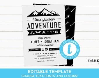 Adventure Awaits Shower Invitation - Printable Templett Shower Invitation - Boy Baby Shower Invitation - Adventure Shower Invitation