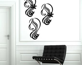Wall Vinyl Decal Sticker Silhouette Beautiful Woman's Head Makeup Hairstyle Beauty Salon Decor (2422dn)