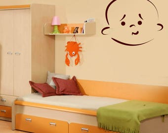 Wall Vinyl Decal  Beauty Baby Cartoon Face with Emotion Decor for Kids Room (#2488dn)