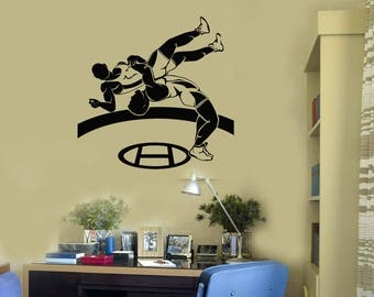 Wrestlers Vinyl Wall Decal Wrestling Sports Art Fighters Boys Room Stickers Mural (#2693di)