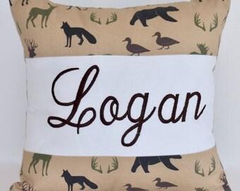 Personalized Pillow , nursery pillow, woodland animals, camo,  lumberjack pillow, baby pillow, embroidery pillow