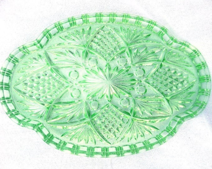 "Green Glass Tray, Trinket Set Tray, Art Deco Pressed Glass, 11.5"" x 8"" x 1"", Vintage Boudoir Tray, Wedding Decor, Glass Business Card Tray,"