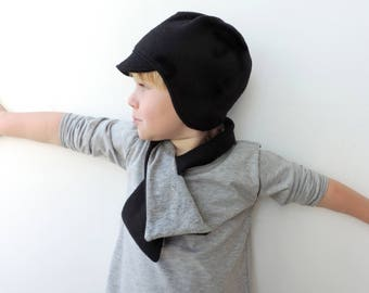 Kids Black Hat - Visor Beanie with earflaps - Reversible Beanie - Hipster Kids Beanies - Toddlers Winter Hat -by PetitWild