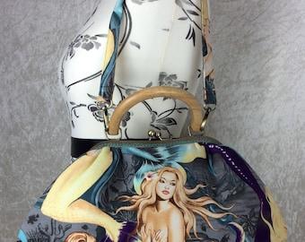 Mermaids Sea Sirens Betty frame handbag purse Alexander Henry bag handmade in England