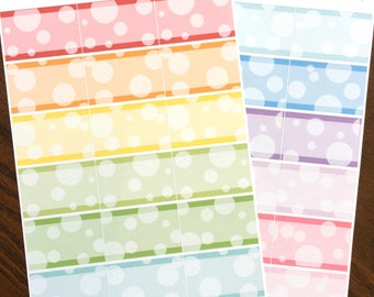 Bubbles Half Boxes Planner Stickers - Rainbow Half Box Stickers - Square Corners Rainbow Stickers - Squared Half Boxes - Functional Stickers