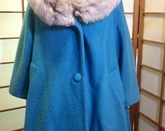 Mohair Swing Lilli Ann Vintage Wool Fox Fur 60's Mad Men Turquoise Coat Winter Holiday