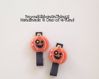 Pumpkin Celebration | Hair Clips for Girls | Toddler Barrette | Kids Hair Accessories | Black Grosgrain Ribbon | No Slip Grip | Halloween