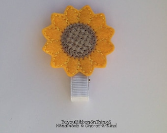 Sunflower | Applique | Hair Clips for Girls |Toddler Barrette | Kids Hair Accessories | White Grosgrain Ribbon | Felties | No Slip Grip
