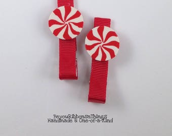 Peppermint | Red Candy | Hair Clips for Girls | Toddler Barrette | Kids Hair Accessories | Red Grosgrain Ribbon | No Slip Grip