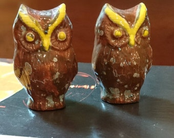 Two Miniature Owls/Fairy Garden Owls/Owl Collectibles