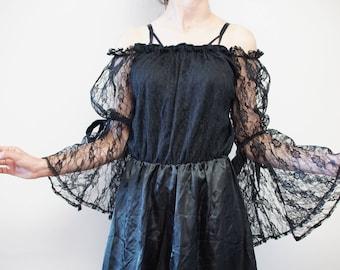 Gothic Black Dress Castle Party Eu36/38 S/M