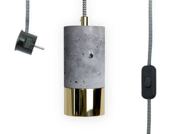 Single Concrete & Brass Lamp with Textile Cable, Light Switch + EU Plug