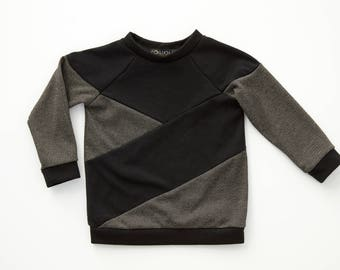 JOUBARBE - long-sleeves sweater with rond neck, asymetric shirt, pull for kids: boys - black